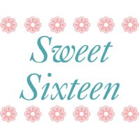 Sweet Sixteen light-colored apparel iron on stickers