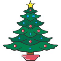 Christmas tree light-colored apparel iron on stickers