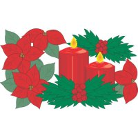 Christmas candles light-colored apparel iron on stickers