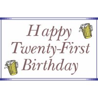Happy Twenty-First Birthday light-colored apparel iron on stickers
