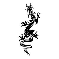 Oriental Climbing Dragon Light Iron On Stickers (Heat Transfers)