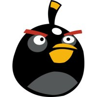 Black Bird-Angry Birds Light Iron On Stickers (Heat Transfers)