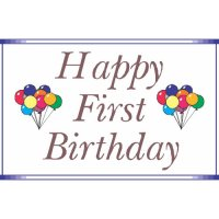 Happy First Birthday Light Iron On Stickers (Heat Transfers) version 5