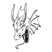 Dragon Head Light Iron On Stickers (Heat Transfers)