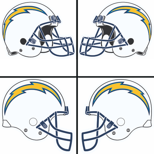 San Diego Chargers Car Decals: San Diego Chargers Helmet Logo Light Iron-on Stickers